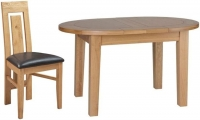 Devonshire New Oak Small D End Oval Extending Dining Set with 4 Verona Chairs - 131.5cm-166.5cm