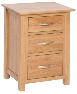 New Oak 3 Drawer High Bedside Cabinet