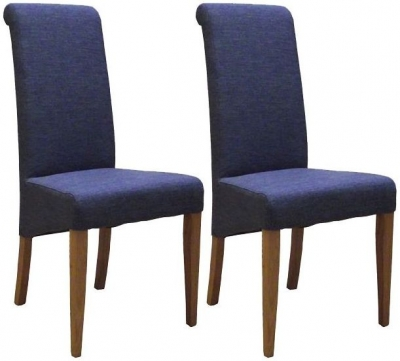 Devonshire New Oak Blue Fabric Dining Chair (Pair)