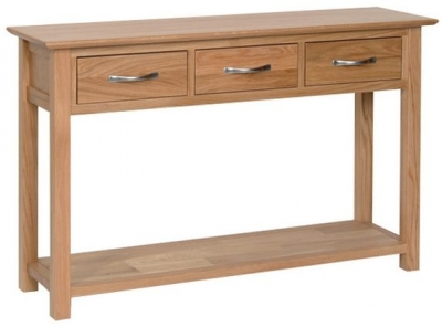 New Oak 3 Drawer Console Table