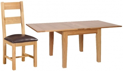 Devonshire New Oak Dining Set - Extending Table with 4 Ladder Back Chairs