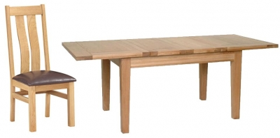 Devonshire New Oak Dining Set - Medium Extending Table with 4 Arizona Chairs