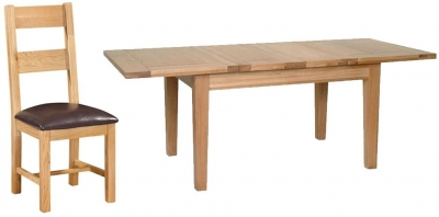 Devonshire New Oak Dining Set - Medium Extending Table with 4 Ladder Back Chairs