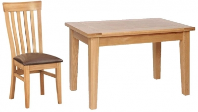 Devonshire New Oak Dining Set - Large Table with 4 Toulouse Chairs