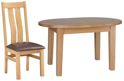 Devonshire New Oak Dining Set - Small D End Extending Table with 4 Arizona Chairs