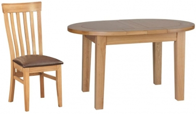 Devonshire New Oak Dining Set - Small D End Extending Table with 4 Toulouse Chairs