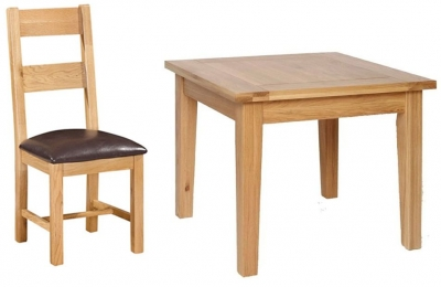 Devonshire New Oak Dining Set - Small Table with 4 Ladder Back Chairs