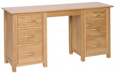 Devonshire New Oak Dressing Table - Double Pedestal