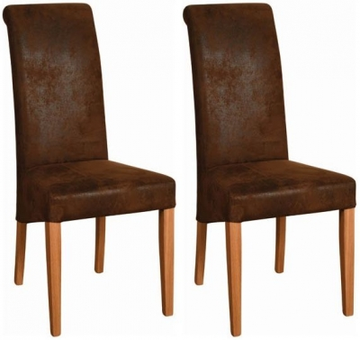 Devonshire New Oak Faux Leather Bison Dining Chair (Pair)