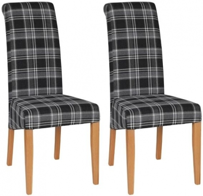 Devonshire New Oak Fabric Grey Plaid Dining Chair (Pair)