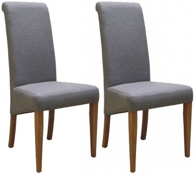 Devonshire New Oak Light Grey Fabric Dining Chair (Pair)
