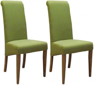 Devonshire New Oak Lime Fabric Dining Chair (Pair)