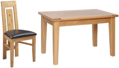 Devonshire New Oak Rectangular Dining Set with 4 Verona Chairs - 120cm
