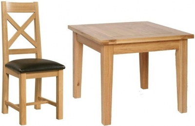 Devonshire New Oak Square Dining Set with 4 Cross Back Chairs - 91.5cm