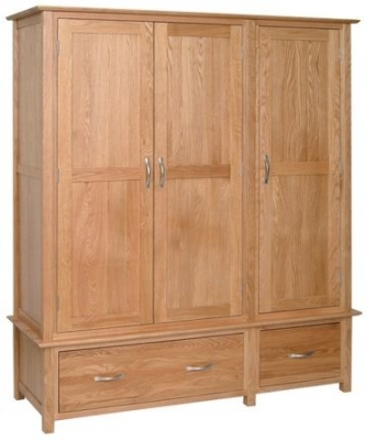 Devonshire New Oak Wardrobe - Triple 2 Drawer