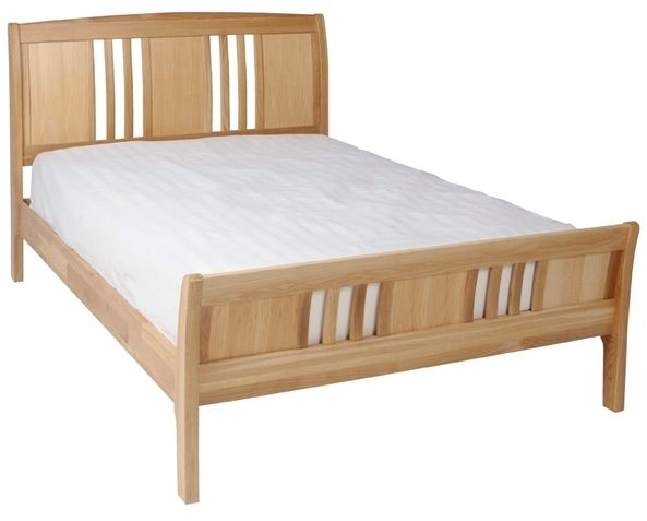 Devonshire New Oak Bed - Sleigh High Foot End