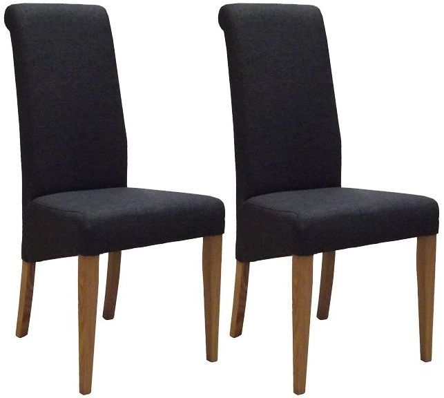 Devonshire New Oak Charcoal Fabric Dining Chair (Pair)