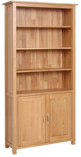 Devonshire New Oak 2 Door Tall Bookcase with Cupboard