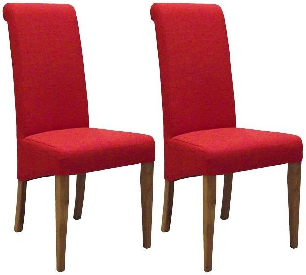 Devonshire New Oak Dark Orange Fabric Dining Chair (Pair)