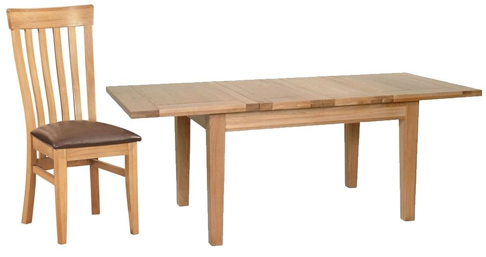 Devonshire New Oak Dining Set - 132cm-198cm Rectangular Extending Table with 4 Toulouse Chairs