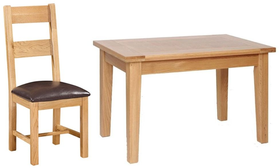Devonshire New Oak Dining Table and 4 Ladder Back Chairs