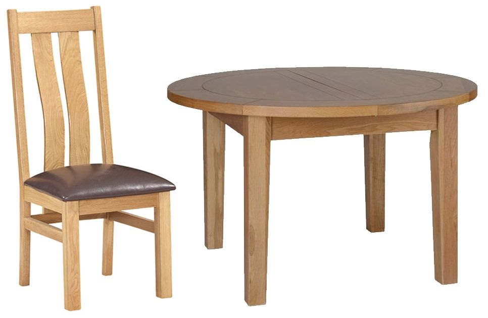 Devonshire New Oak Dining Set - Round D End Extending Table with 4 Arizona Chairs