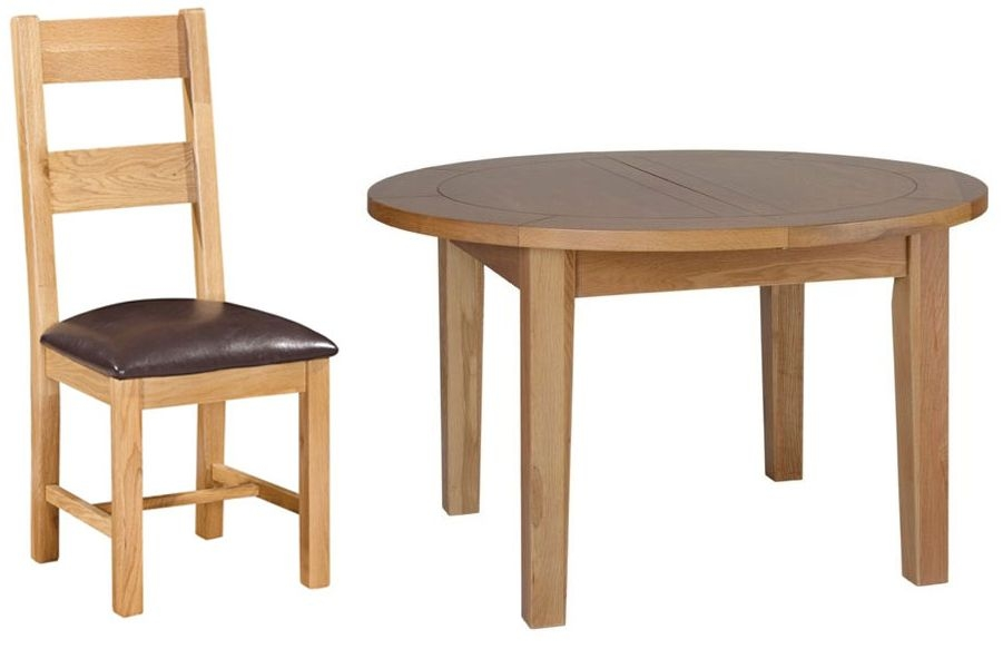 Devonshire New Oak Dining Set - Round D End Extending Table with 4 Ladder Back Chairs