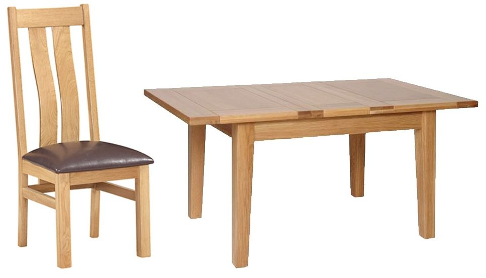Devonshire New Oak Dining Set - Small Extending Table with 4 Arizona Chairs