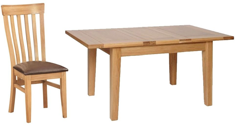 Devonshire New Oak Dining Set - Small Extending Table with 4 Toulouse Chairs