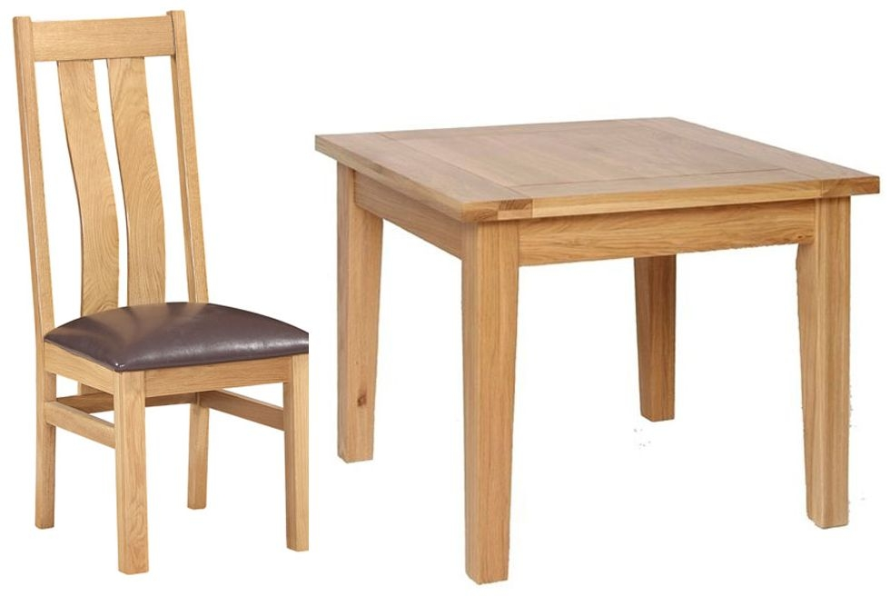 Small oak dining table and 4 chairs cheshire rustic oak for Small table and 4 chair set