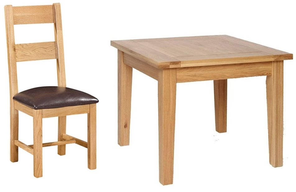 Devonshire new oak dining set small table with 4 ladder for Small dining table and 4 chairs