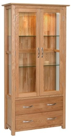 Devonshire New Oak Display Cabinet - 2 Door 2 Drawer