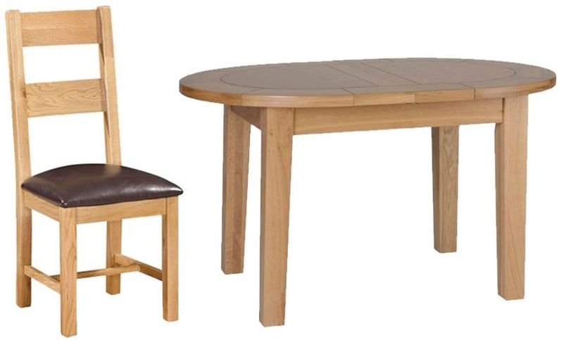 Devonshire New Oak Small D End Oval Extending Dining Set with 4 Ladder Back Chairs - 131.5cm-166.5cm