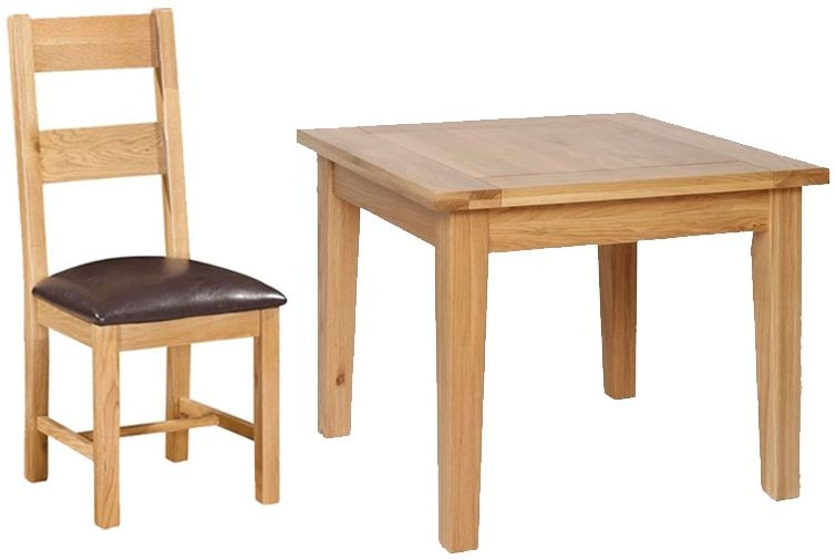 Devonshire New Oak Square Dining Set with 4 Ladder Back Chairs - 91.5cm