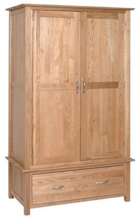 Devonshire New Oak 2 Door 1 Drawer Double Wardrobe