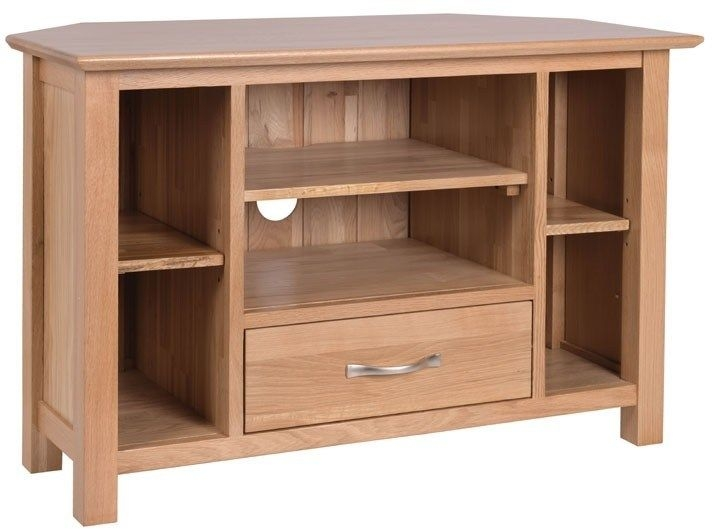 New Oak 90cm Corner TV Unit