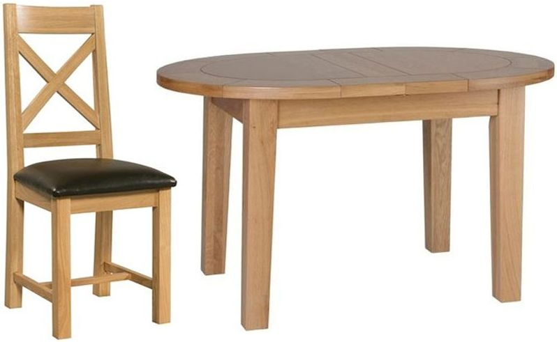Devonshire New Oak Small D End Oval Extending Dining Set with 4 Cross Back Chairs - 131.5cm-166.5cm