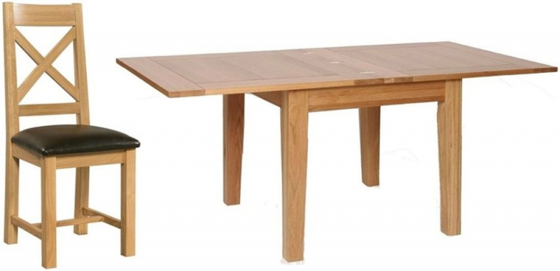 Devonshire New Oak Square Extending Dining Set with 4 Cross Back Chairs - 91.5cm-183cm