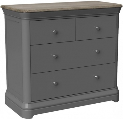 Pebble Slate Grey Painted 2+2 Drawer Chest