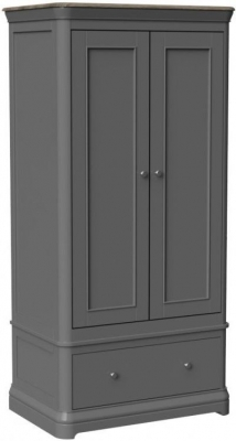 Pebble Slate Grey Painted 2 Door Double Wardrobe