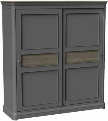 Pebble Slate Grey Painted 2 Door Sliding Wardrobe
