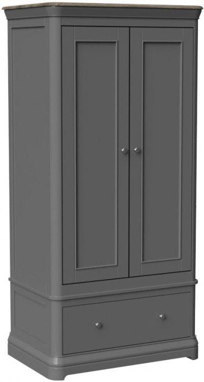 Pebble Slate Grey Painted 2 Door Double Wardrobe