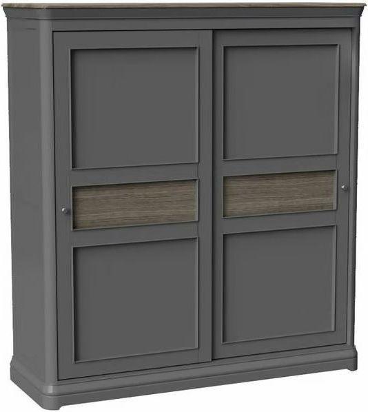 Pebble Slate Grey Painted 2 Door Sliding Wardrobe