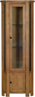 Rustic Oak Corner Display Cabinet