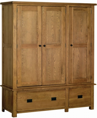 Rustic Oak 3 Door Triple Wardrobe