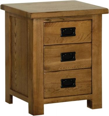 Rustic Oak 3 Drawer Bedside Cabinet