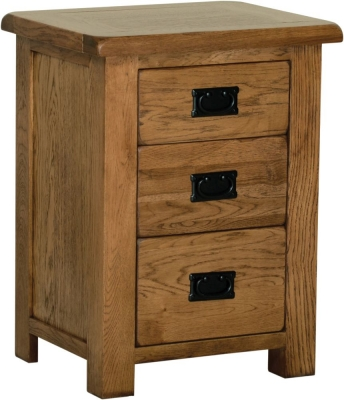 Rustic Oak 3 Drawer High Bedside Cabinet