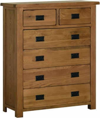 Rustic Oak 4 + 2 Drawer Chest