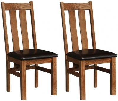 Rustic Oak Arizona Dining Chair (Pair)