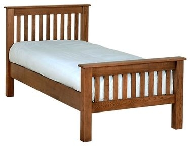 Devonshire Rustic Oak Bed - High Foot End